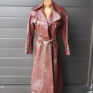 100% leather long vintage burgandy red trench